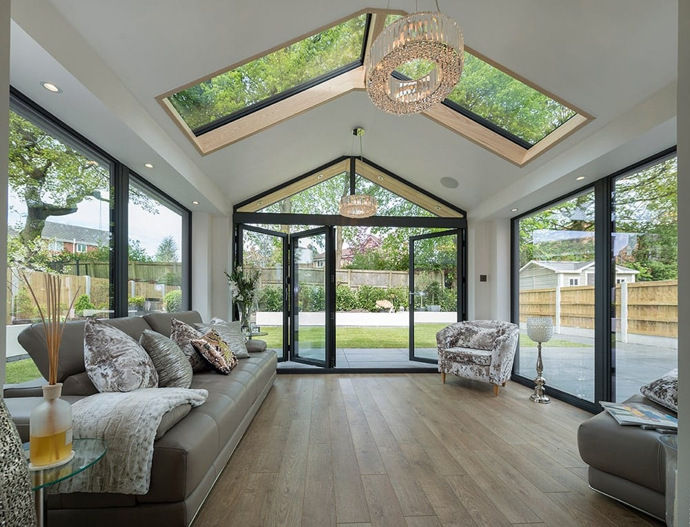 WARMroof Interior with Skylights and BiFolds
