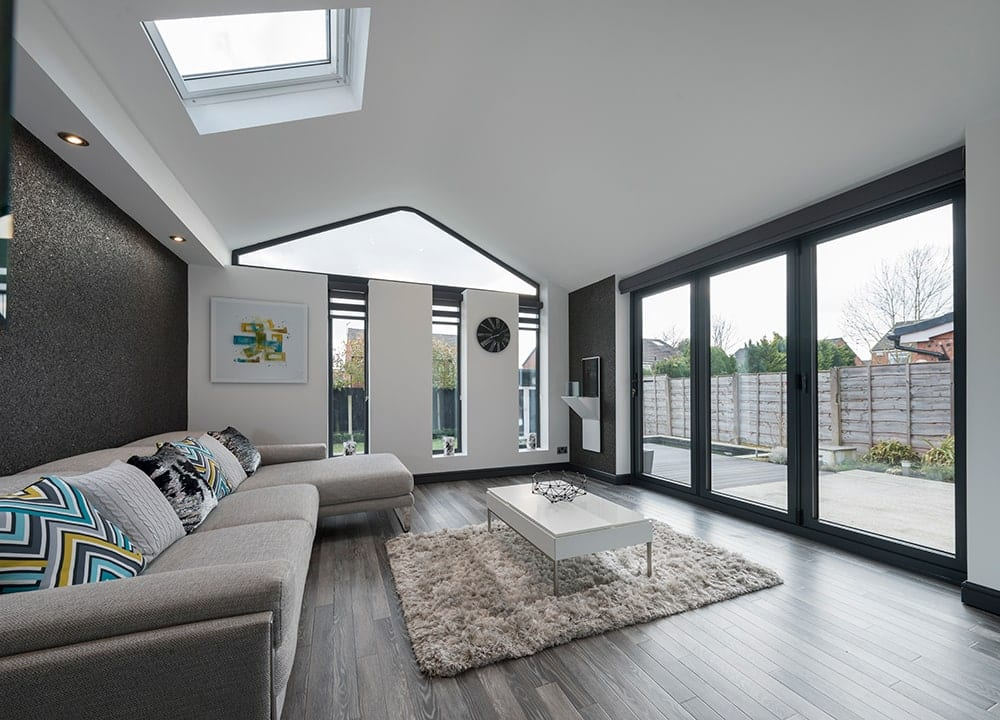 WARMroof Interior with Black Bifolds