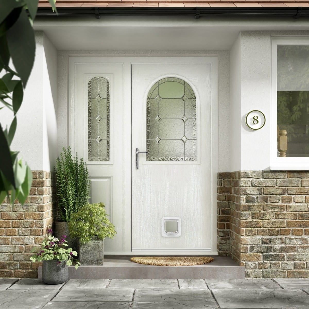 Elegant White Door With Decorative Glass