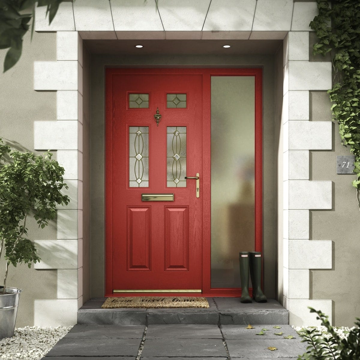 Red Composite Door with side glass panel