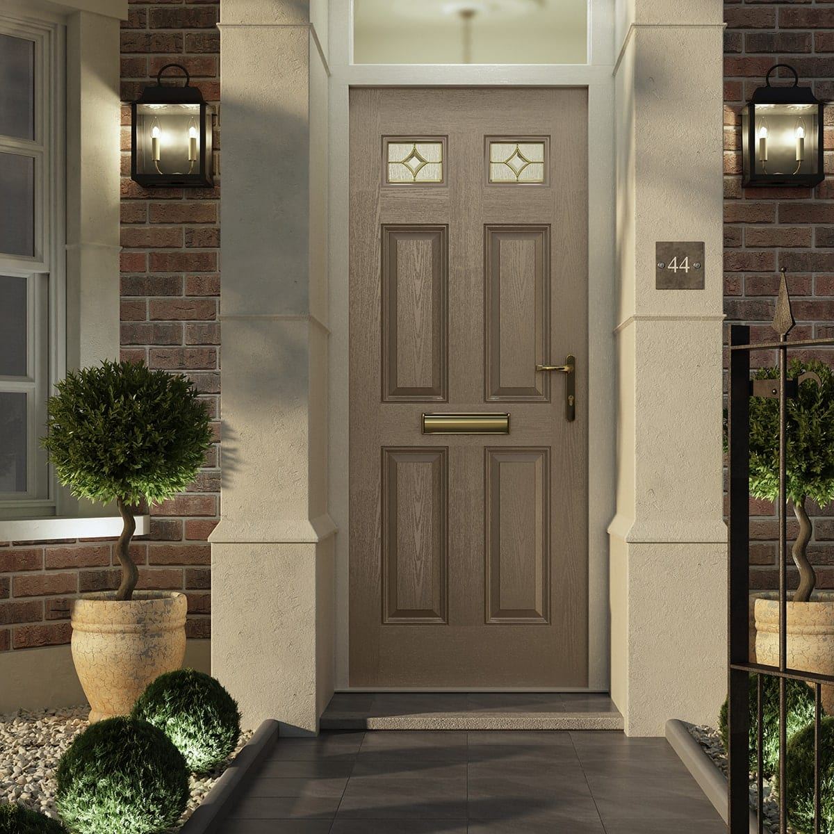 Sable Scotia Brass Composite Door