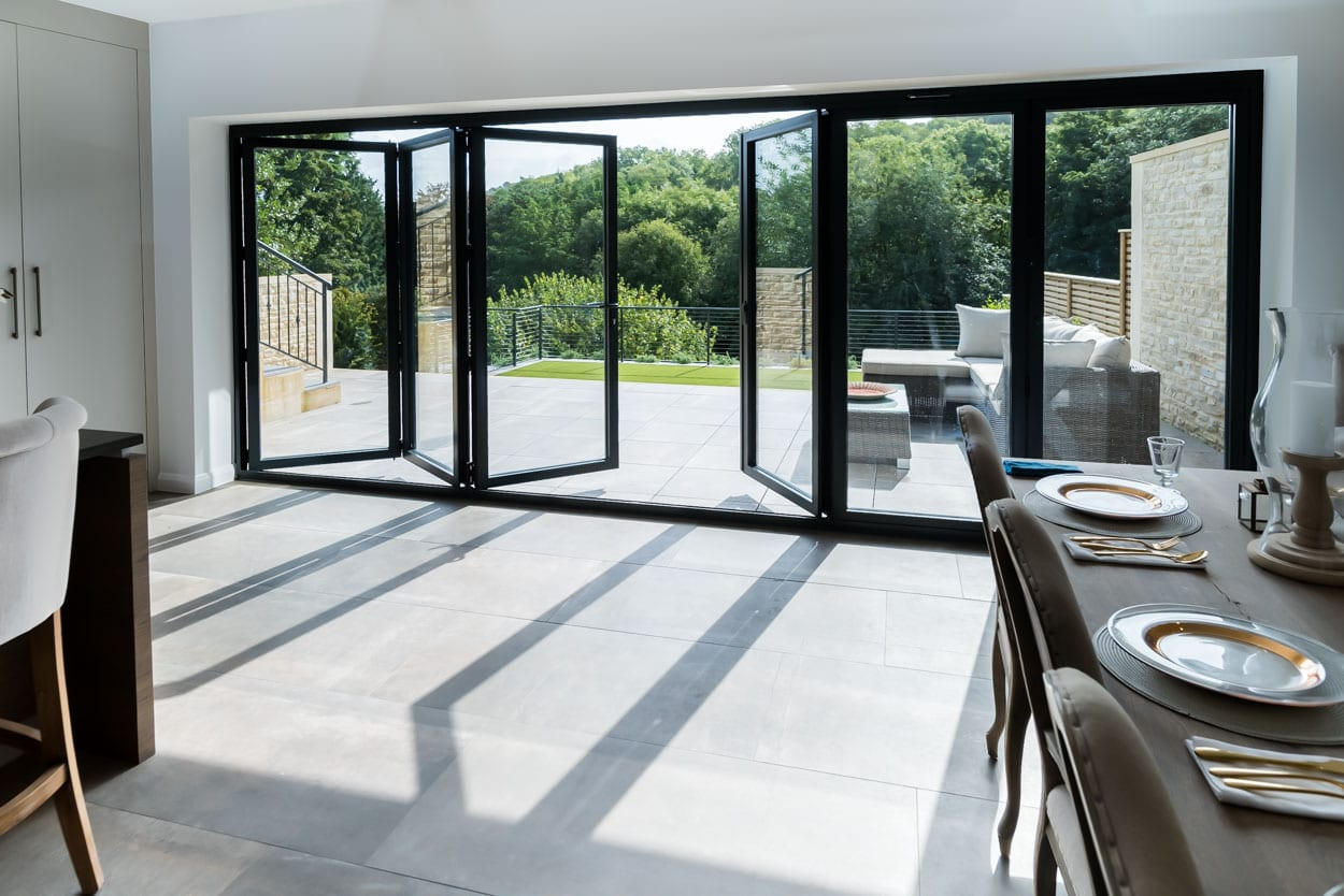 Black Open Bi-Fold Doors