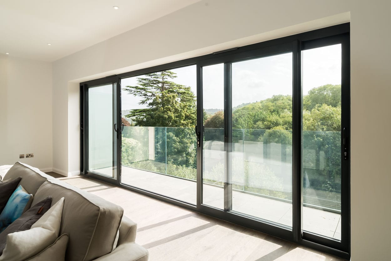 Aluminium Sliding Patio Doors opening to a balcony