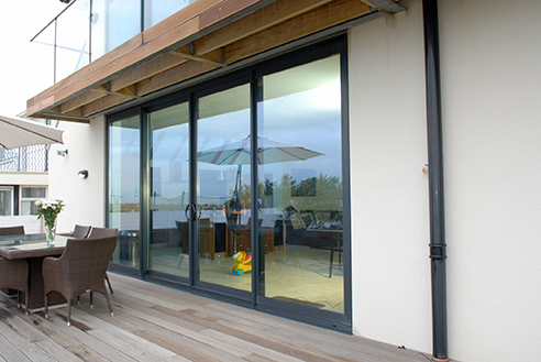 Closed Aluminium Sliding Doors with large glass panels