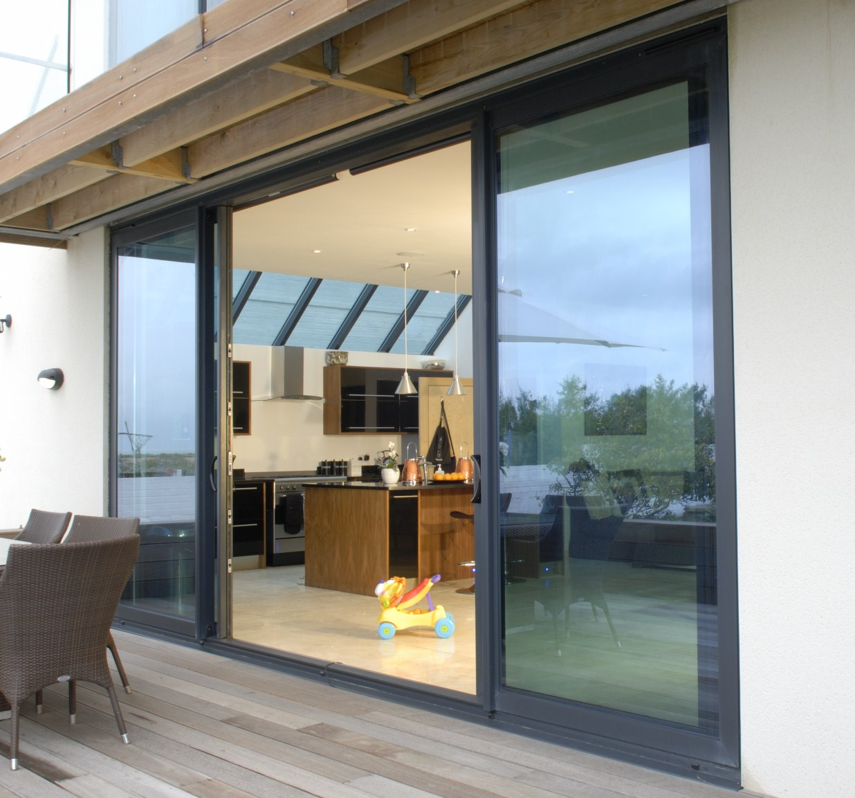 Anthracite Grey Aluminium Sliding doors on balcony