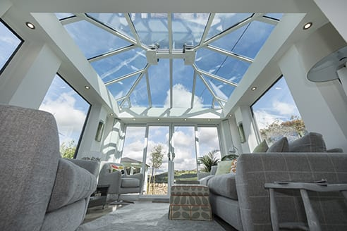 Conservatory with large glass roof