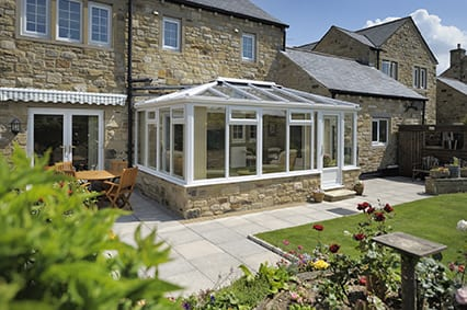 White Conservatory with stone base