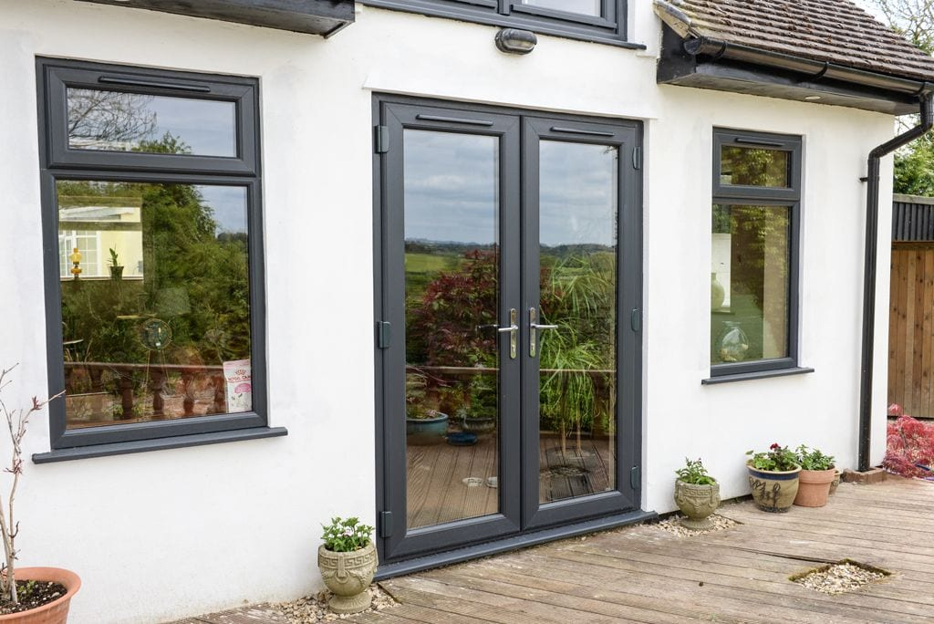 Grey windows and french doors