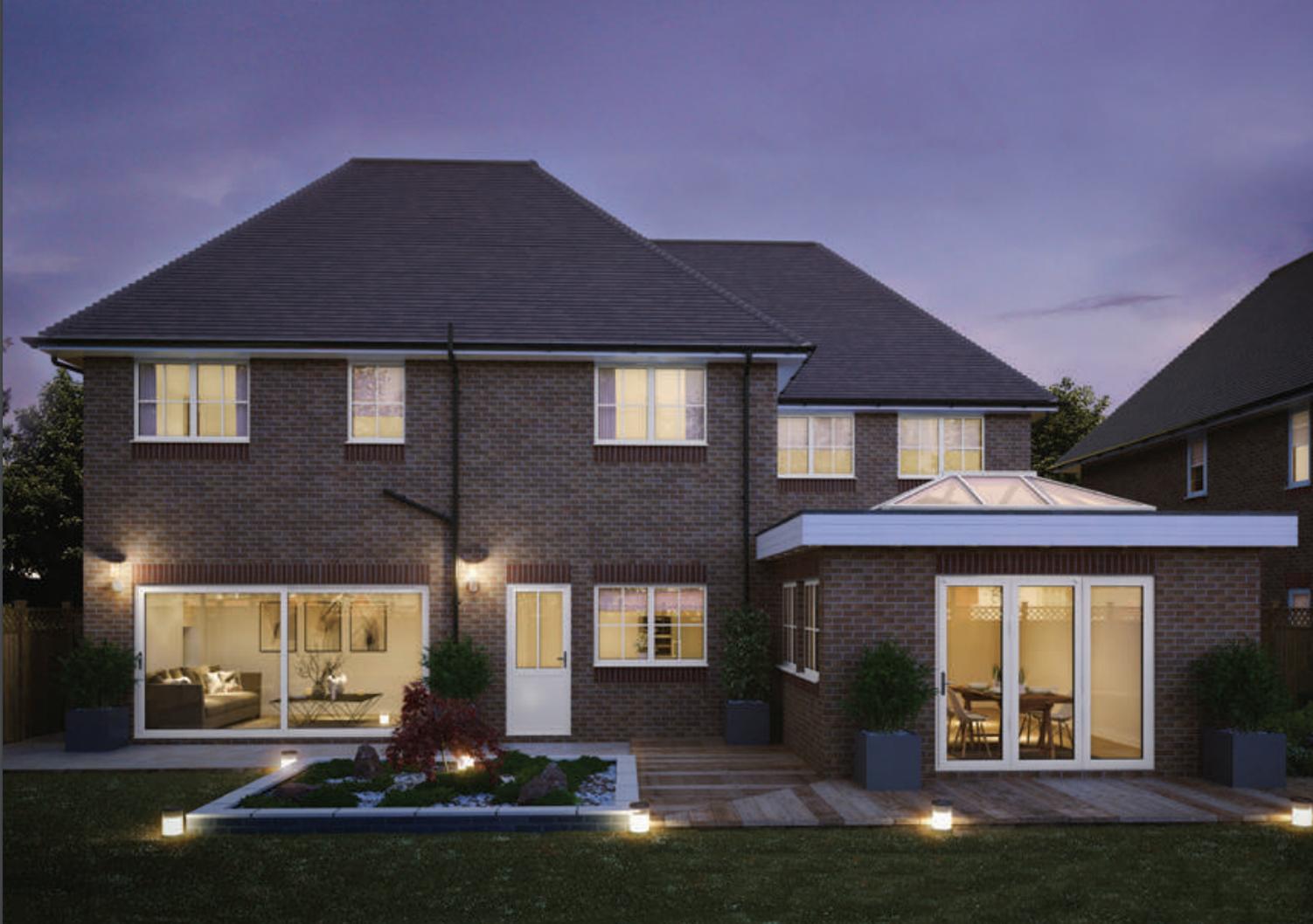 House with illuminated Aluminium windows